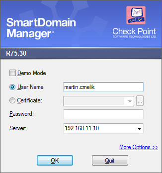 Check Point SmartDomain Manager Login window